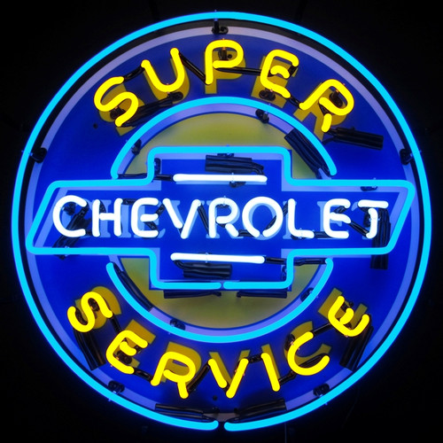 SUPER CHEVY SERVICE WITH BACKING NEON SIGN