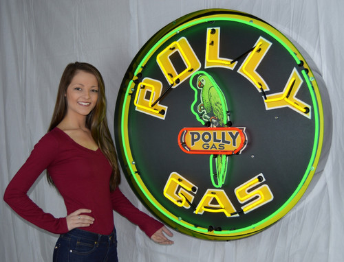 POLLY GASOLINE 36 INCH NEON SIGN IN METAL CAN