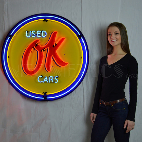 OK USED CARS 36 INCH NEON SIGN IN METAL CAN