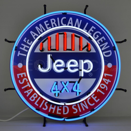 JEEP THE AMERICAN LEGEND NEON SIGN WITH BACKING