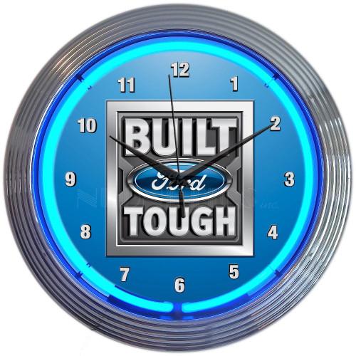 BUILT FORD TOUGH NEON CLOCK
