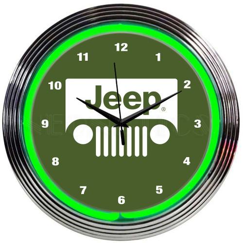 JEEP GREEN NEON CLOCK