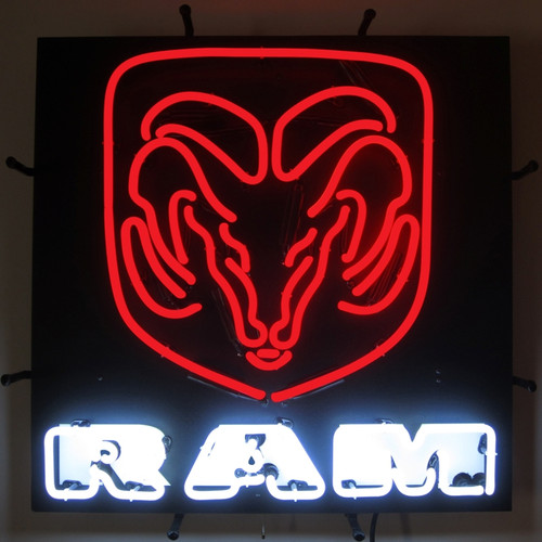 RAM RED AND WHITE WITH BACKING NEON SIGN