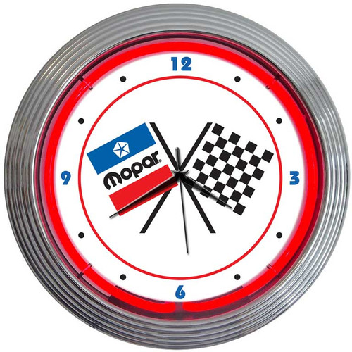 MOPAR CHECKERED FLAGS NEON CLOCK