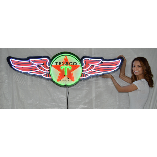 5 FOOT TEXACO WINGS NEON SIGN IN STEEL CAN