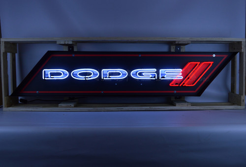 5 FOOT DODGE NEON SIGN IN SHAPED STEEL CAN