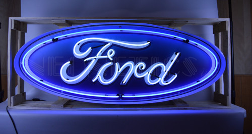 5 FOOT FORD OVAL NEON SIGN IN STEEL CAN