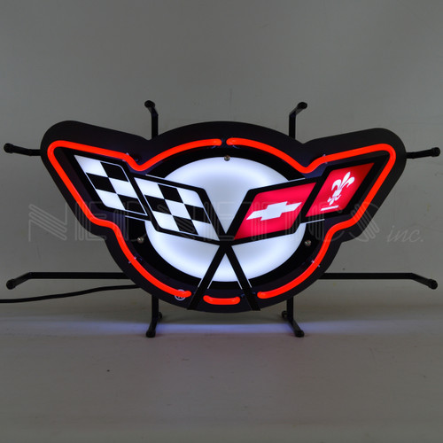CORVETTE C5 FLAGS NEON SIGN WITH BACKING