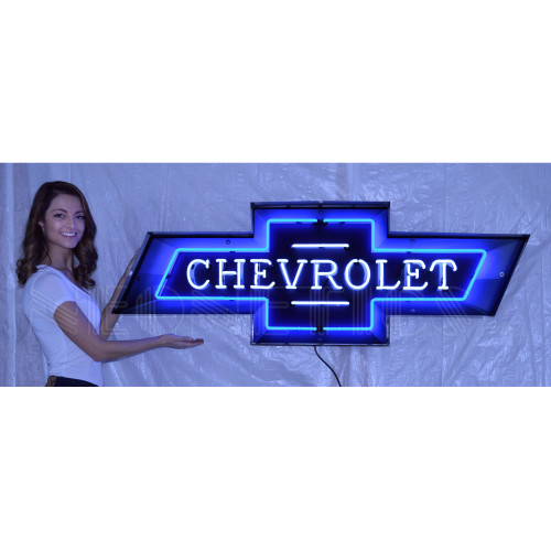 5 FOOT CHEVY BOWTIE NEON SIGN IN STEEL CAN