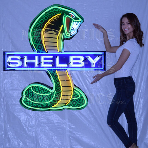 SHELBY COBRA NEON SIGN IN SHAPED STEEL CAN