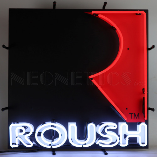 ROUSH SQUARE NEON SIGN WITH BACKING