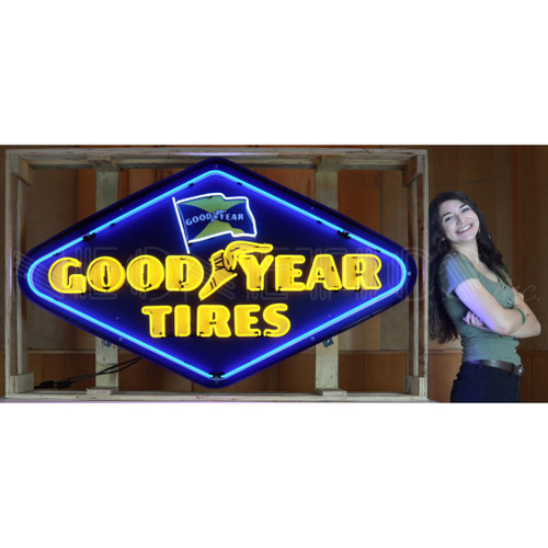 GOODYEAR TIRES DIAMOND NEON SIGN IN SHAPED STEEL CAN