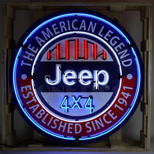JEEP 4X4 THE AMERICAN LEGEND NEON SIGN IN 36 INCH STEEL CAN