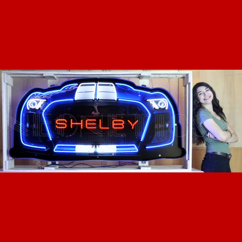 GRILL – SHELBY GT 500 GRILL NEON SIGN IN STEEL CAN