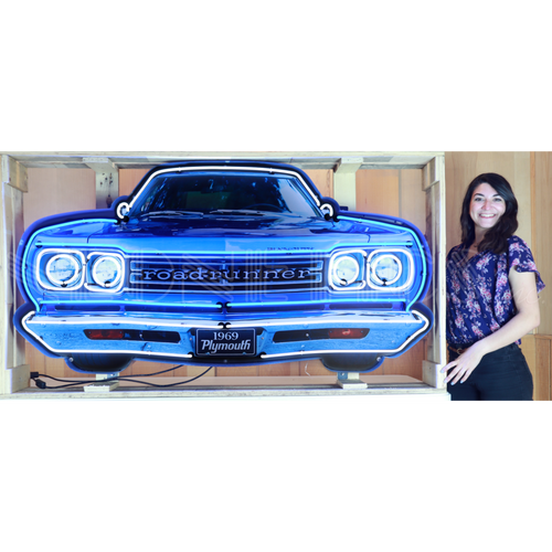 GRILL – PLYMOUTH ROAD RUNNER GRILL NEON SIGN IN STEEL CAN
