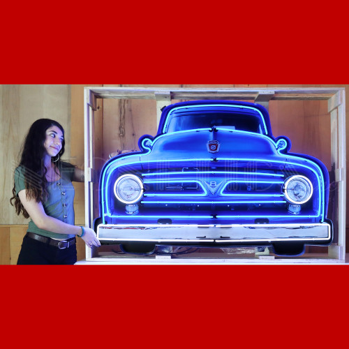 GRILL – FORD V8 TRUCK GRILL NEON SIGN IN STEEL CAN