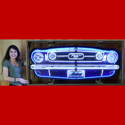 GRILL – FORD MUSTANG GRILL NEON SIGN IN STEEL CAN