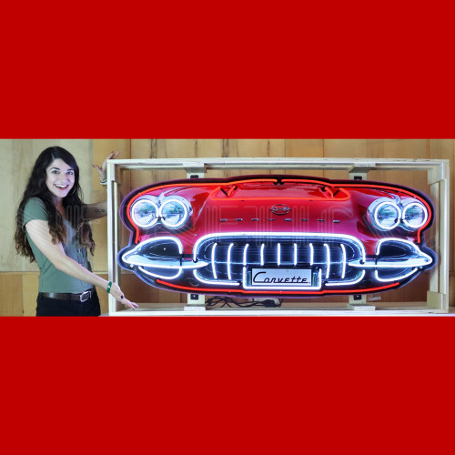 GRILL – CORVETTE C1 GRILL NEON SIGN IN STEEL CAN