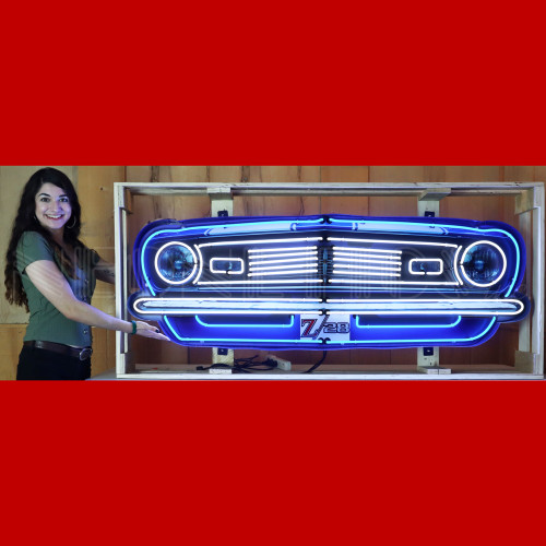 GRILL – CAMARO Z/28 GRILL NEON SIGN IN STEEL CAN