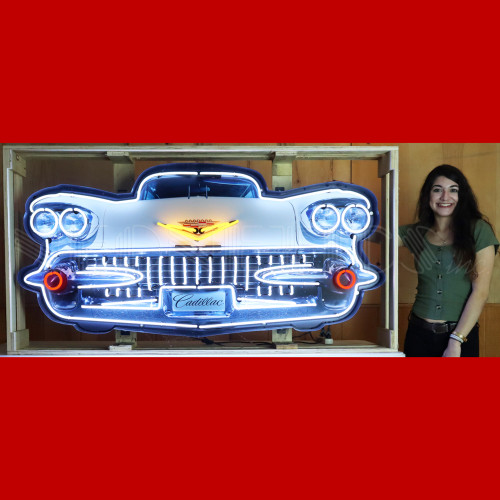 GRILL – CADILLAC GRILL NEON SIGN IN STEEL CAN