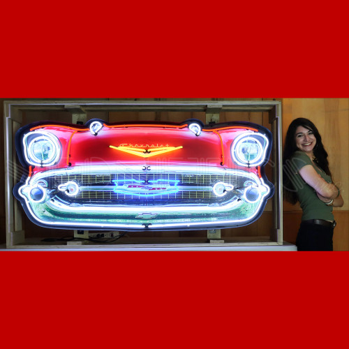 GRILL – 57 CHEVY BEL AIR GRILL NEON SIGN IN STEEL CAN