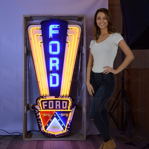 FORD JUBILEE CREST NEON SIGN IN SHAPED STEEL CAN