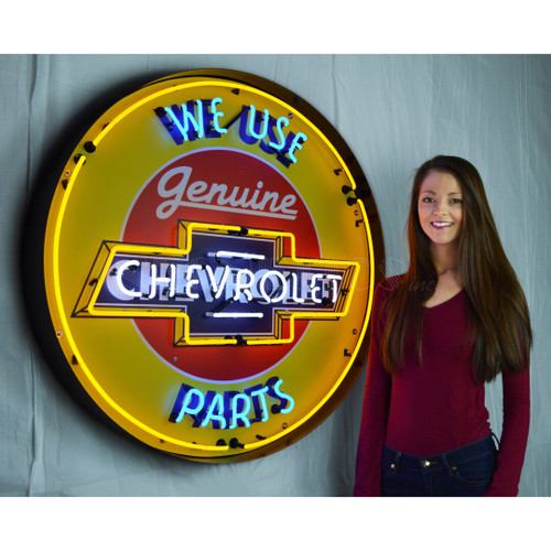 CHEVY PARTS NEON SIGN IN 36″ STEEL CAN