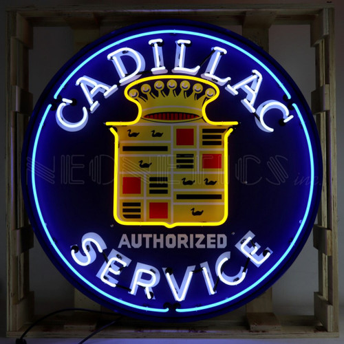 CADILLAC NEON SIGN IN 36 INCH STEEL CAN