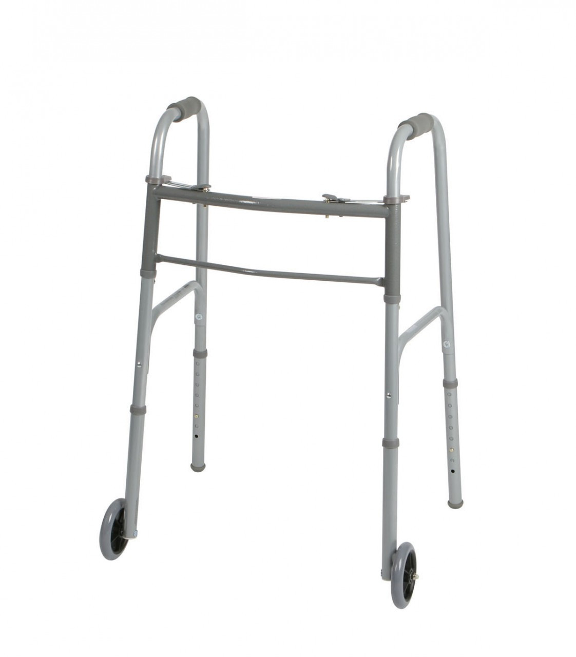 Medline Two Button Walker shown with wheels