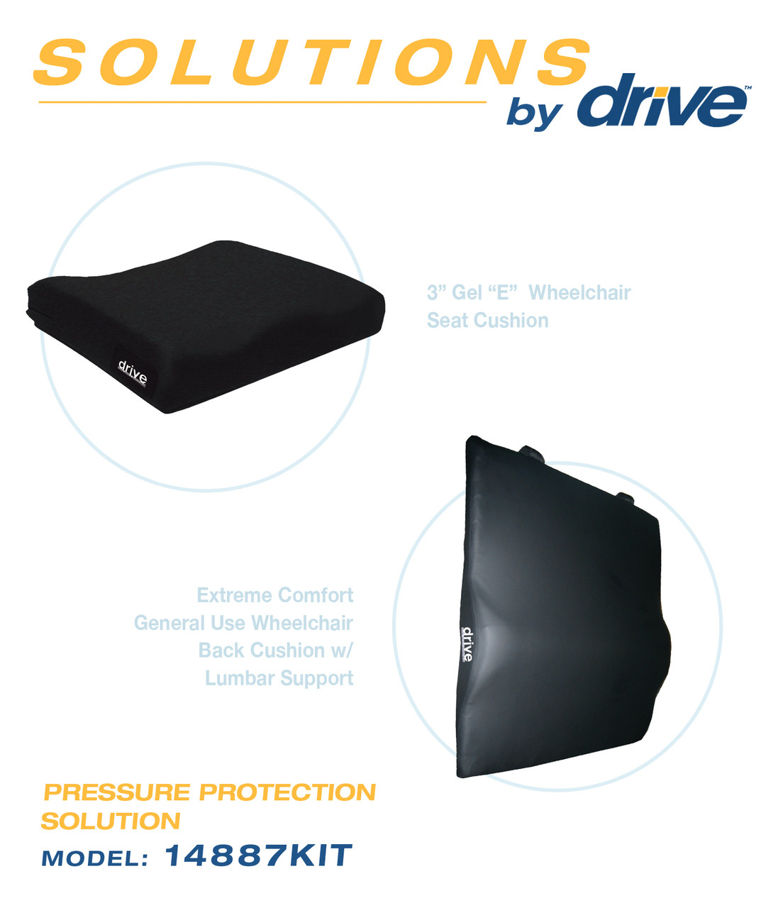 Drive Foam Wheelchair Back and Seat Cushion Bundle
