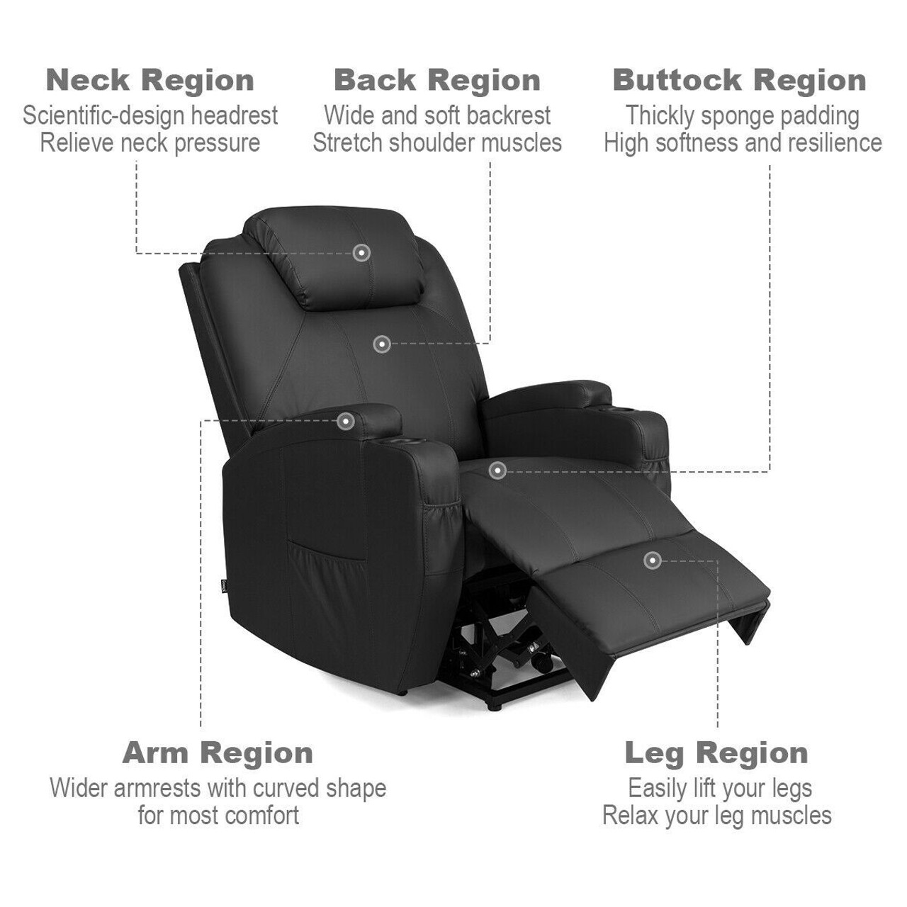 Power Lift Recliner with Massage and Heat - Black Faux Leather