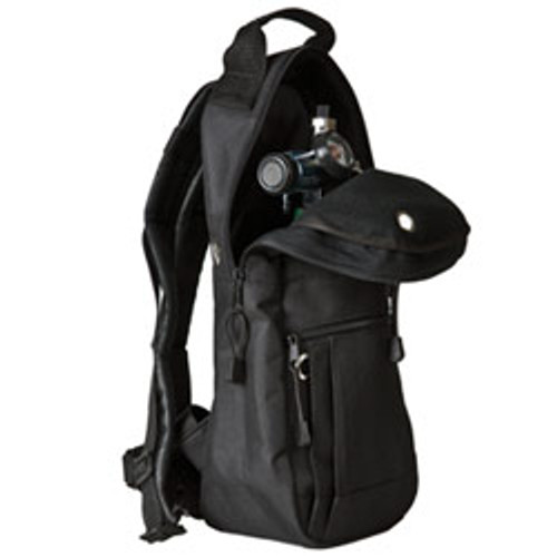 Features high-quality padded nylon fabric, backpack straps, exterior pocket and reinforced bottom.