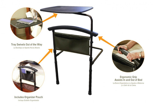 Independence Bed Table and Bed Safety Rail Features