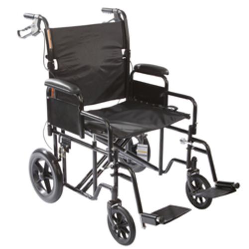 """Roscoe Heavy Duty Transport Wheelchair w/ 12"""" Rear Wheels"""
