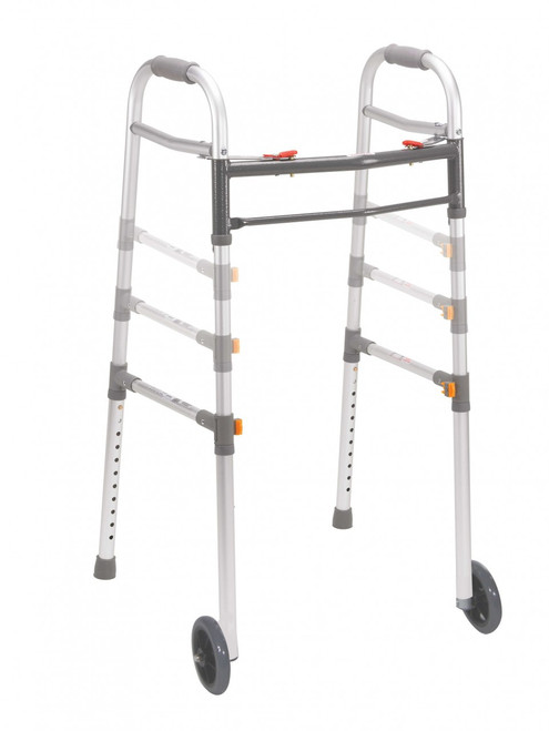 """Drive Two Button Folding Universal Walker with 5"""" Wheels"""