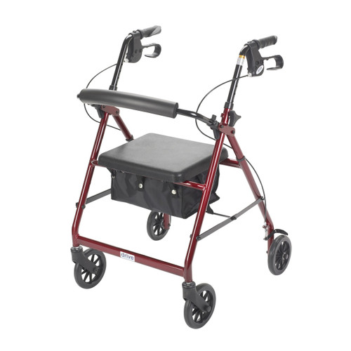 Drive Red Rollator Walker with Fold Up and Removable Back Support and Padded Seat