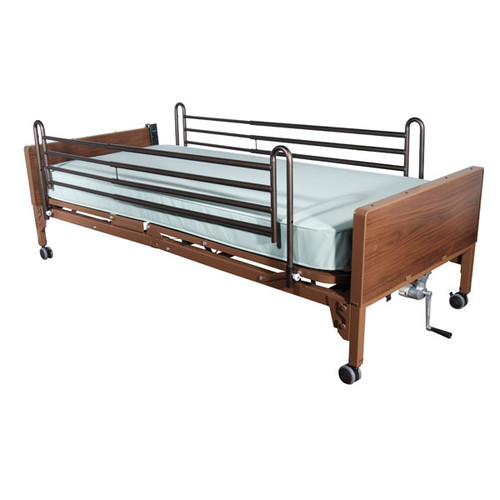 Drive Multi Height Manual Hospital Bed with Full Rails and Innerspring Mattress Package