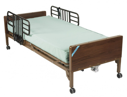 Drive Delta Ultra Light Full Electric Bed w/ Half Rails and Therapeutic Support Mattress Package