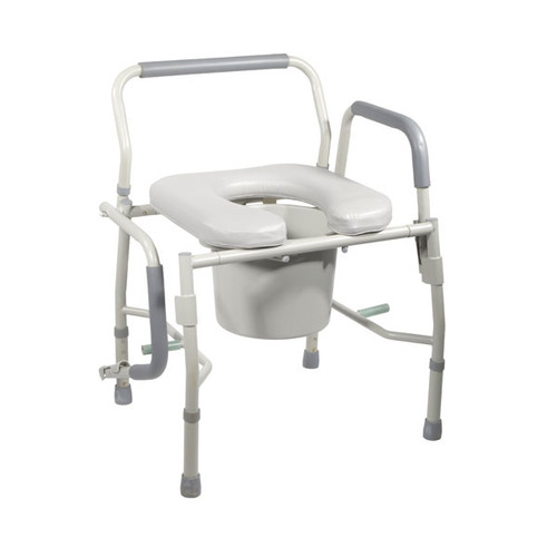 Drive Steel Drop Arm Bedside Commode with Padded Seat & Arms 2
