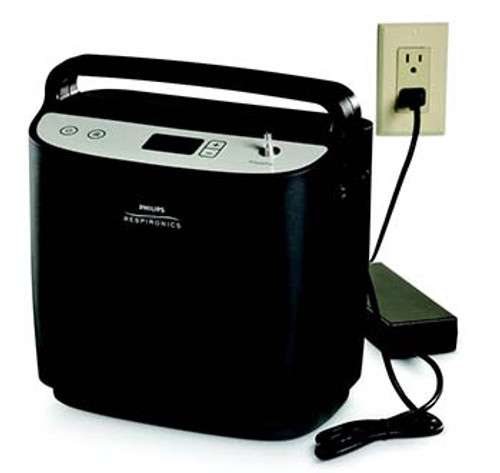 Respironics SimplyFlo Home Concentrator shown with A/C power cable