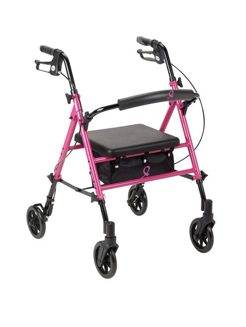 "Pink ACS Aluminum Rollator - 6"" Casters"