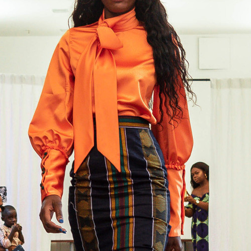 Orange Tie Blouse