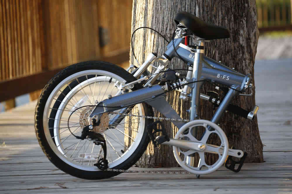 8FS silver folding bike folded
