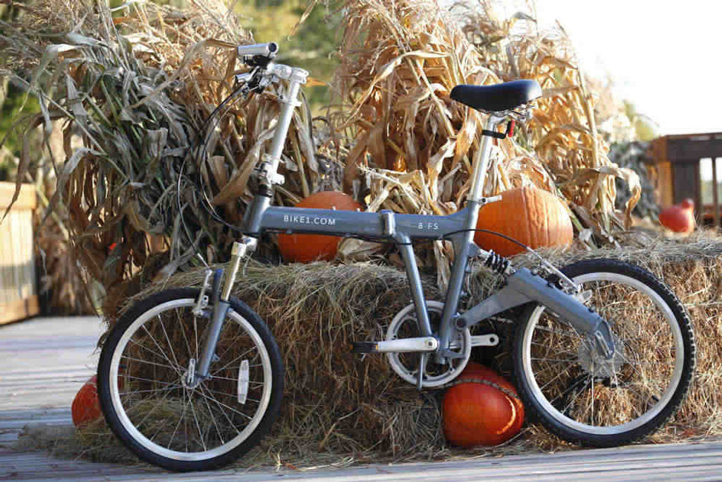 8FS silver folding bike Standing on Hay