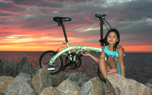 mini folding bike with 7 year old