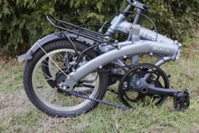 mini folding bike silver folded