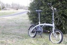 mini folding bike silver standing