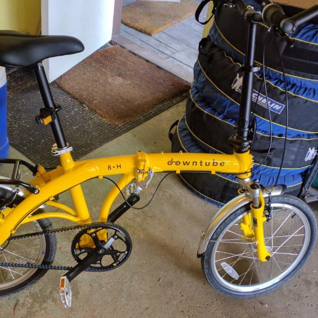 8H yellow folding bike with Gates belt drive