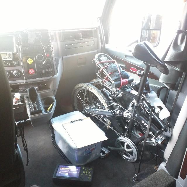 9FS folded bike in a big rig truck
