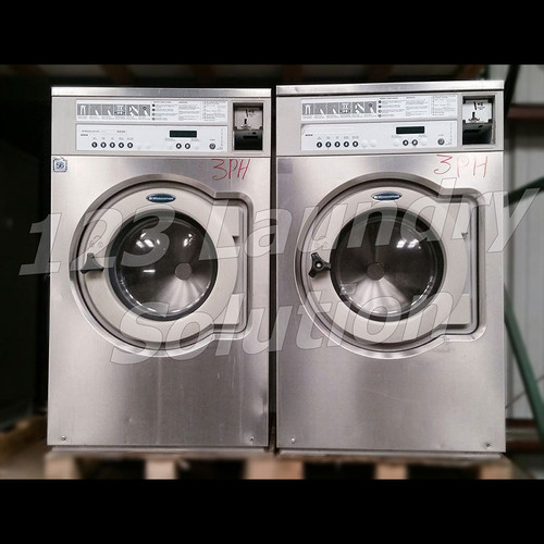 WASCOMAT FRONT LOAD WASHER COIN OPERATED 30LB-3PH 220V E630 STAINLESS STEEL USED